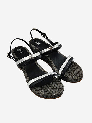 Black Silver Handcrafted Leather Kolhapuri Wedges