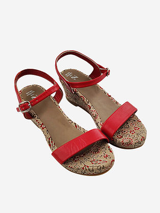 Red Hand Block Printed Leather Wedges