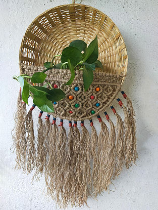 Brown Macrame Boho Basket planter (Dia-13in)