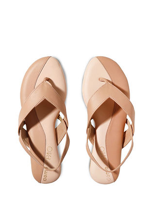 Peach Handcrafted Faux Leather Sandals