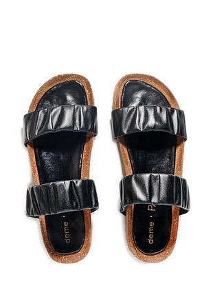 Black Handcrafted Faux Leather Slip Ons