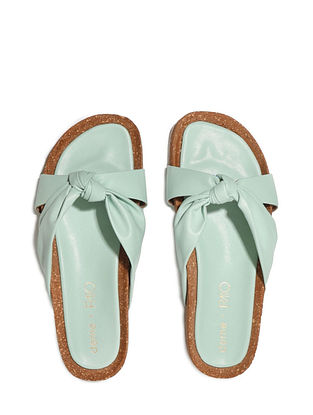 Mint Green Handcrafted Faux Leather Slip Ons