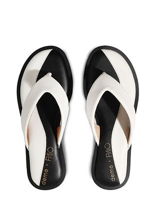 White Handcrafted Faux Leather Slip Ons