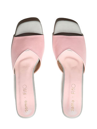 Pink Handcrafted Faux Leather Block Heels