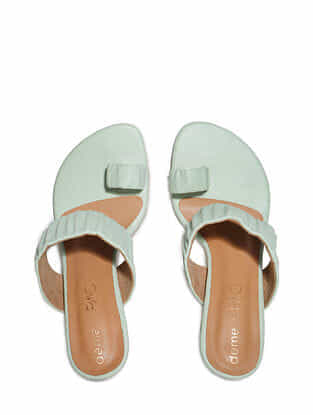 Mint Green Handcrafted Faux Leather Block Heels