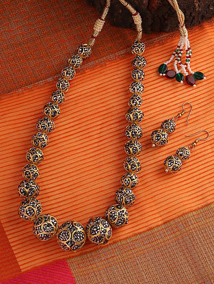 Grey Gold Tone Beaded Mercasite Necklace With Earrings