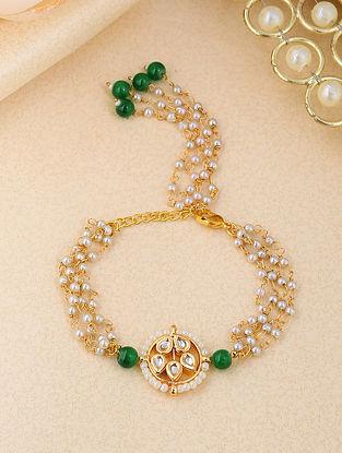 Green White Gold Tone Kundan Beaded Bracelet