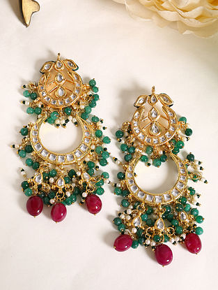 Green Maroon Gold Tone Kundan Earrings