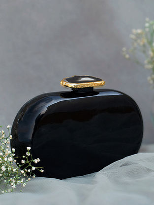 Black Handcrafted Marble Clutch