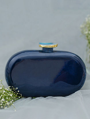 Blue Handcrafted Marble Clutch