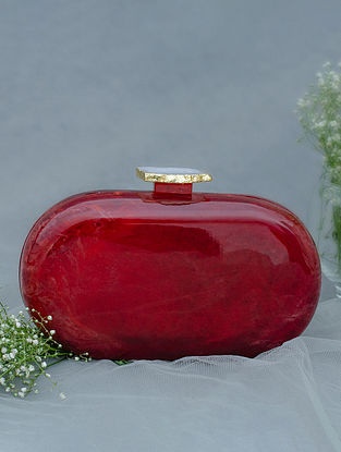 Red Handcrafted Marble Clutch