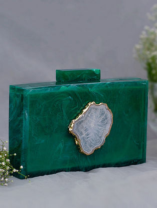 Green Handcrafted Marble Clutch