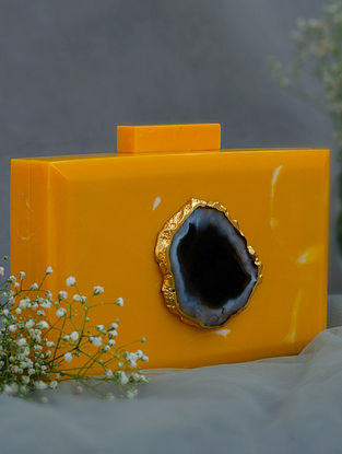 Yellow Handcrafted Marble Clutch