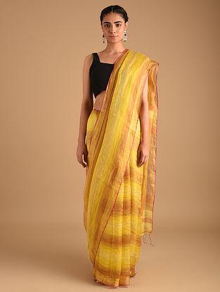 Yellow Handloom Zari Weave Linen Saree
