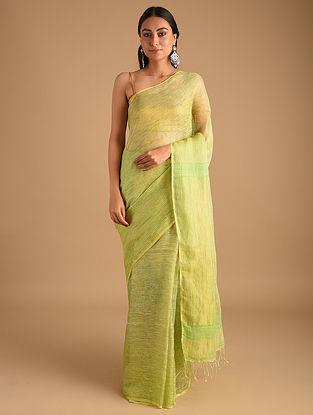 Green Handloom Zari Weave Linen Saree With Ombre