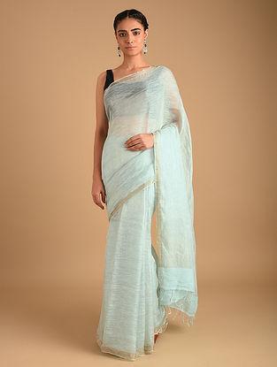 Blue Handloom Zari Weave Linen Saree With Ombre
