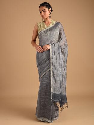Grey Handloom Zari Weave Linen Saree with Ombre