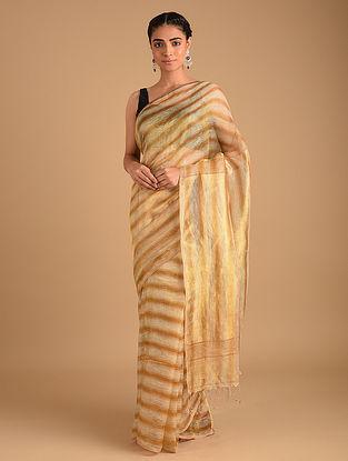 Gold Handloom Zari Weave Linen Saree with Ombre