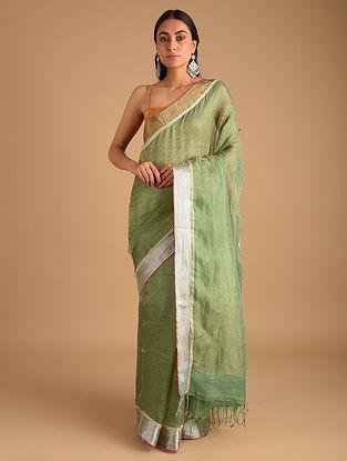Green Handloom Metallic Jamdani Saree