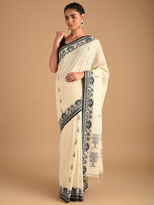 White Handloom Cotton Jacquard Jamdani Sarees
