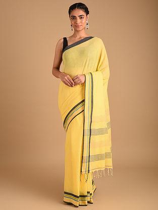 Yellow Handloom Plain Cotton Saree