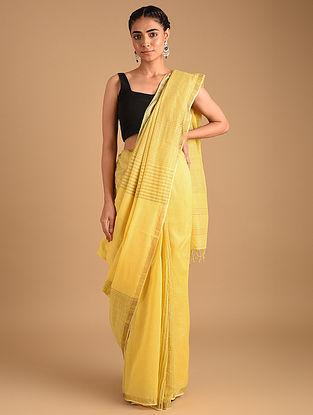 Yellow Handloom Plain Cotton Jacquard Border Saree