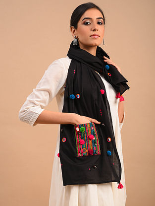 Black Handmade Embroidered  Cotton Scarf