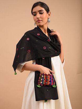 Black Handmade Embroidered  Cotton Scarf