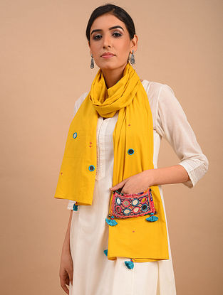 Yellow Handmade Embroidered  Cotton Scarf