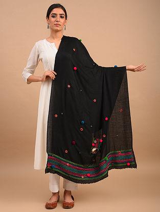 Black Handmade Embroidered Pashmina  Shawl