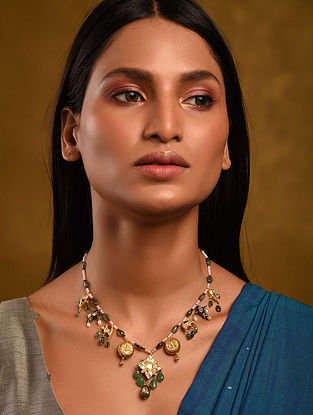 Gold Polki Multi Precious Stone Necklace with Pearls