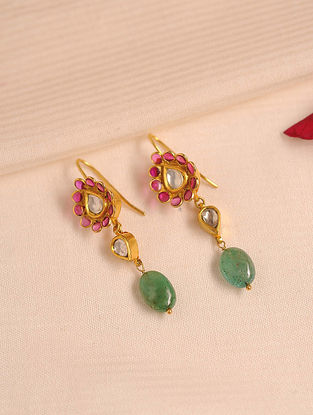 Gold Polki Ruby Earrings with Emerald