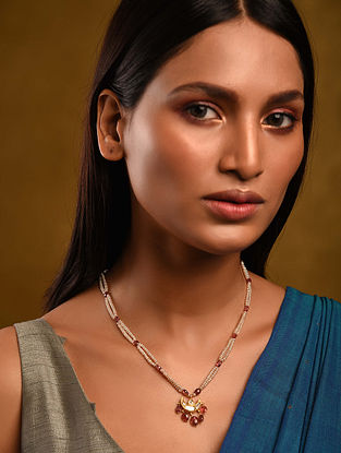 Gold Polki Tourmaline Necklace with Pearls