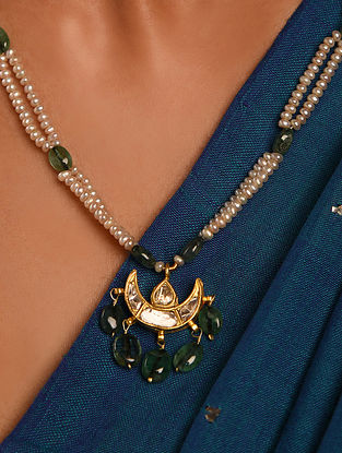 Gold Polki Emerald Necklace with Pearls