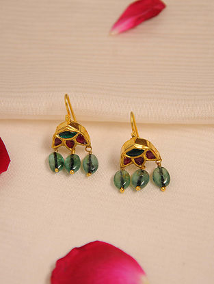 Gold Ruby Earrings with Emerald