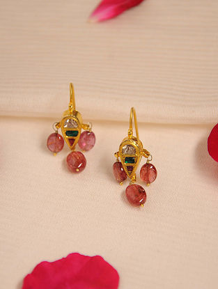 Gold Polki Tourmaline Earrings