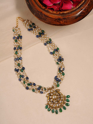 Gold Polki Necklace with Emerald and Sapphire