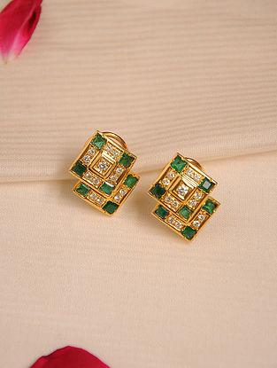 Gold Emerald Earrings with Diamonds