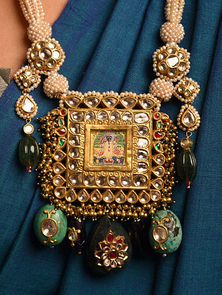 Gold Polki Srinathji Necklace with Multi Precious Stones
