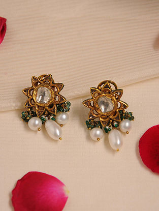 Gold Polki Emerald Earrings with Pearls