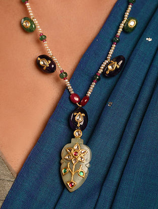Gold Polki Jade Necklace with Pearls and Emerald
