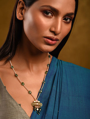 Gold Polki Jade Necklace with Pearls