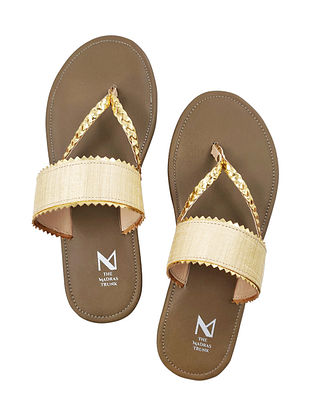 Beige Handcrafted Raw Silk Leather Flats