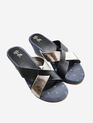 Black Silver Handcrafted Leather Wedges