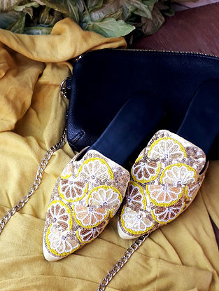 Lemon Yellow Handcrafted Vegan Leather Mules