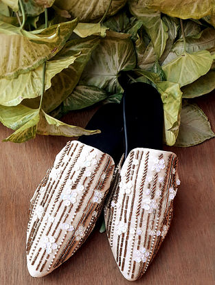 White Gold Handcrafted Vegan Leather Mules