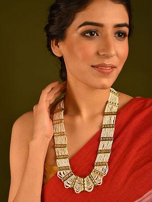 White Gold Tone Kundan Beaded Layered Necklace
