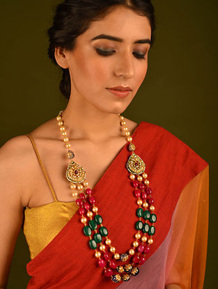 Multicolored Gold Tone Kundan Necklace With Pearls