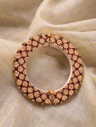 Red Gold Tone Enameled Jadau Bangle