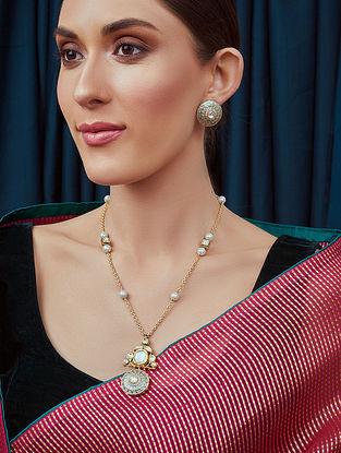 Grey Gold Tone Kundan enameled Necklace With Earrings